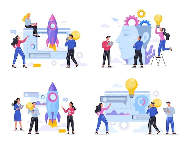 La gente de negocios trabaja en equipo y hace una lluvia de ideas. encontrar un nuevo concepto de idea. mente creativa e innovación. ilustración