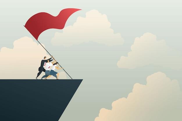 La gente de negocios trabaja en equipo para lograr el objetivo en la montaña. concepto de negocio