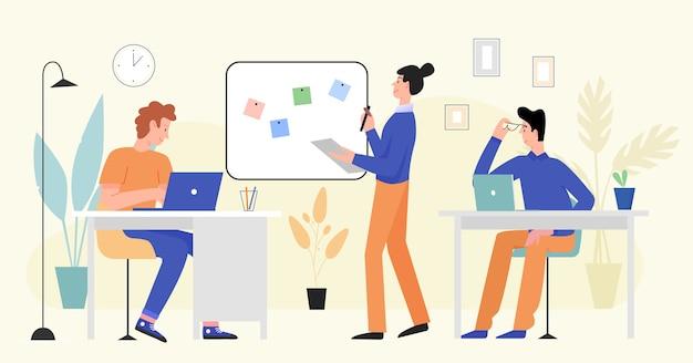 La gente de negocios trabaja en la oficina, un equipo ocupado de dibujos animados de personajes trabajando juntos en el lugar de trabajo moderno