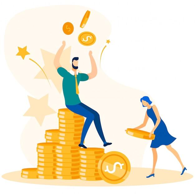 Gente de negocios trabajadores de oficina y crecimiento del dinero