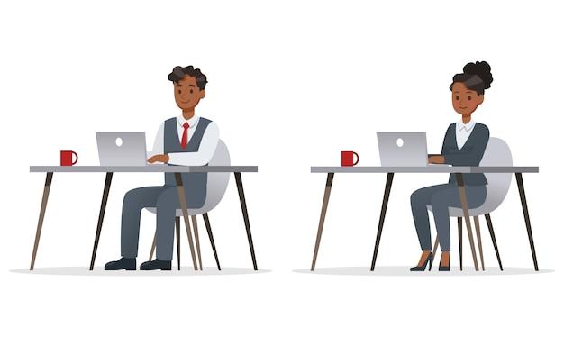 Gente de negocios trabajando en carácter de oficina