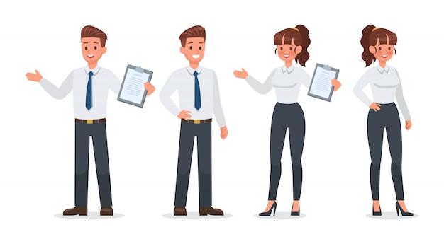 Gente de negocios trabajando en conjunto de caracteres de oficina