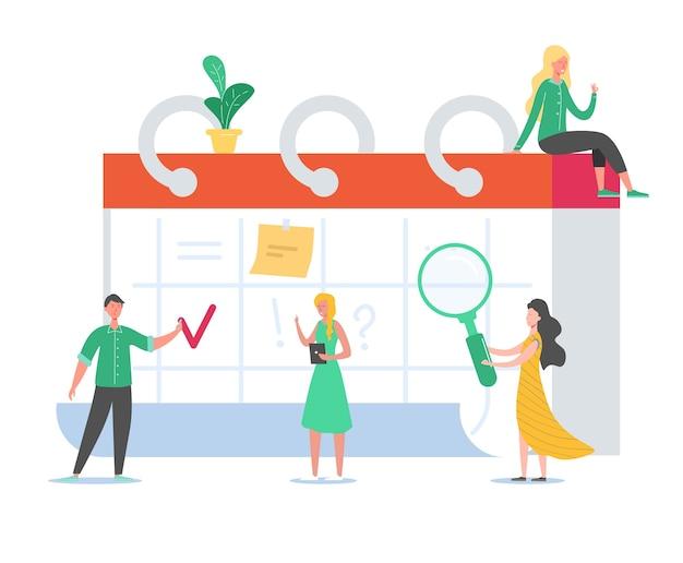 Gente de negocios trabajando en horario. proyecto de trabajo de planificación de pequeños personajes en el calendario de escritorio. recordatorio, concepto de tabla de tiempo. hombre y mujer trabajando juntos.