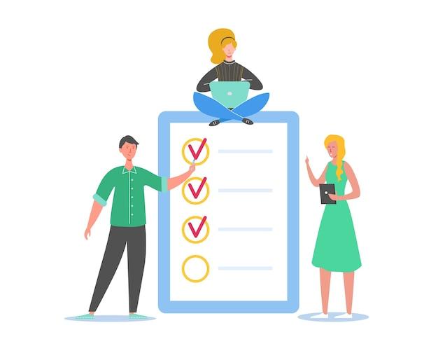 Gente de negocios trabajando junto con la lista de verificación. pequeños personajes que completan la lista de tareas comerciales. hombre y mujer con documento pendiente con casillas de verificación.
