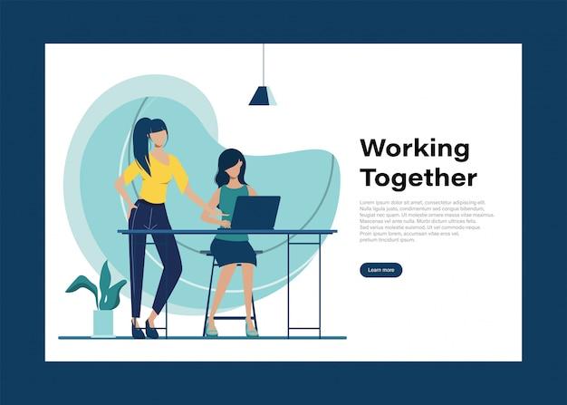 Gente de negocios trabajo en equipo carácter de oficina. animación para motion graphics. reunión del seminario colega. espacio de trabajo interior de la oficina.