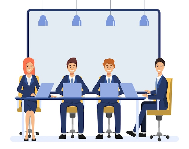 Gente de negocios trabajo en equipo colega carácter. animación escena gente seminario personas.