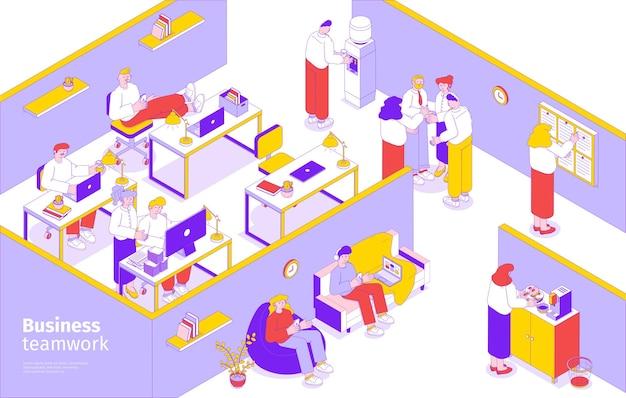 Gente de negocios, trabajo en equipo, composición isométrica con planificación de tareas, colaboración, lluvia de ideas, salón de oficina, sala de descanso