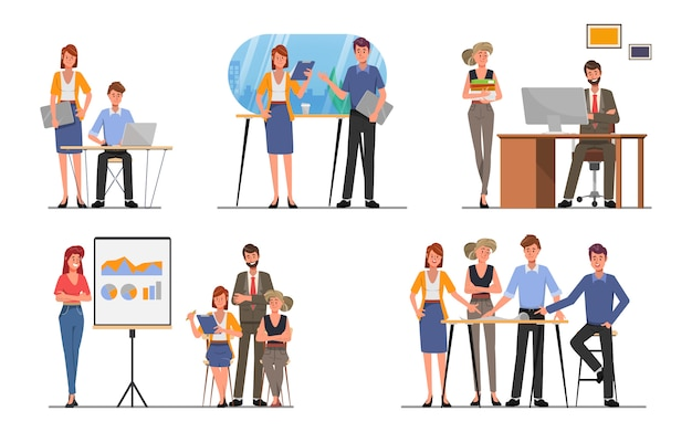 Gente de negocios trabajo en equipo oficina personaje colega seminario reunión vector de dibujos animados plana