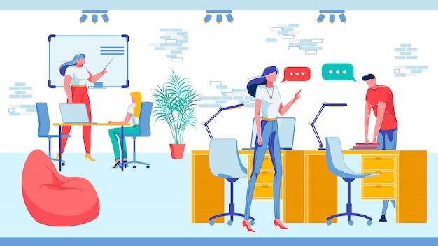 La gente de negocios en el trabajo realiza diferentes tareas.