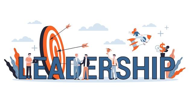 Gente de negocios en traje. idea de trabajo en equipo y liderazgo. avanzando hacia el éxito. ilustración