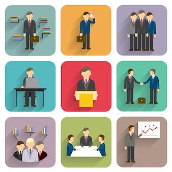 Gente de negocios de vector de estilo plano. iconos de reuniones, conferencias y presentaciones