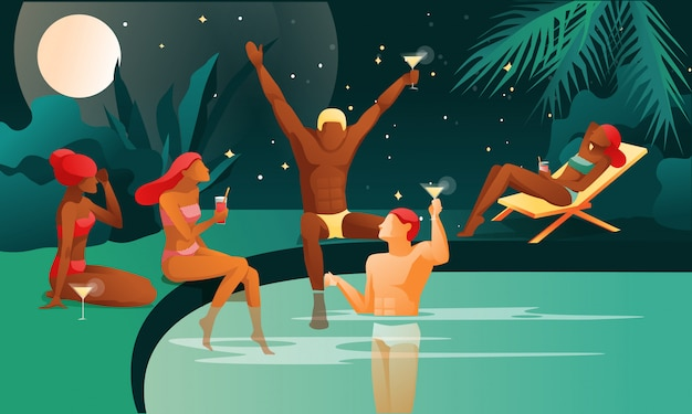 Gente en la noche piscina o fiesta en la playa.