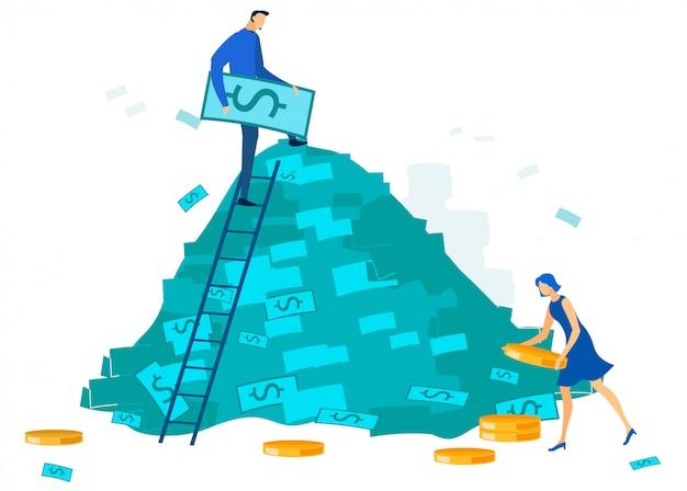 Gente de la oficina y dibujos animados de la pila de dinero en efectivo grande