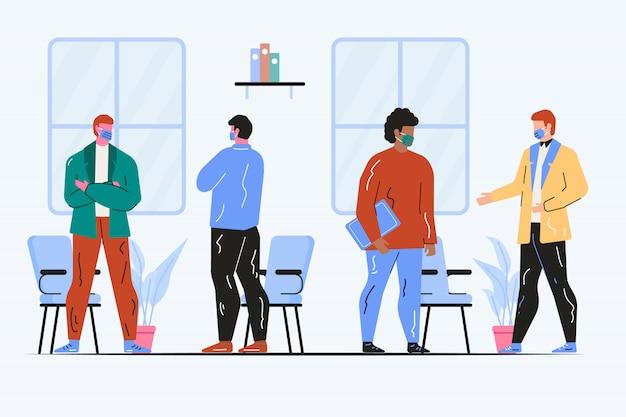 Gente en la oficina hablando con máscaras ilustración