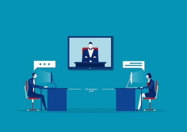 La gente de la oficina de negocios mantiene el distanciamiento social que se encuentra la sala de conferencia