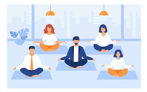 Gente de oficina practicando yoga y meditación