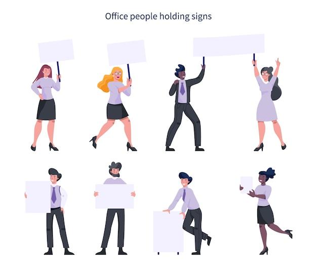 Gente de oficina sosteniendo pancartas. colección de carácter trabajador con tablero vacío en blanco para mensaje. concepto de publicidad.