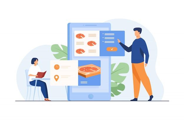 Gente ordenando comida en la cafetería y en línea