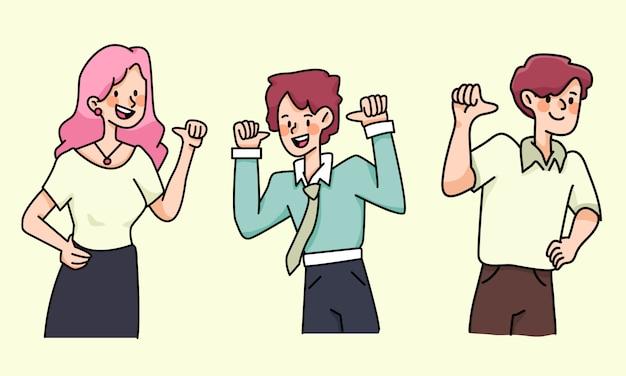 Gente orgullosa autoestima establece ilustración de dibujos animados lindo