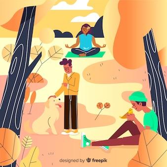 Gente en otoño parque ilustración