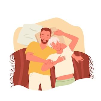 La gente de la pareja gay duerme juntos por la noche, personajes de amantes homosexuales felices durmiendo