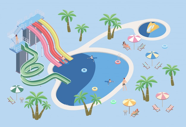Gente en el parque acuático, relajarse en la piscina. piscina y toboganes de agua. ilustración isométrica.