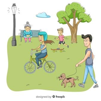 Gente en el parque en un hermoso día de verano