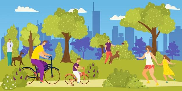 Gente en el parque, ilustración de ocio de estilo de vida. mujer hombre en camino al aire libre de dibujos animados, actividad deportiva urbana joven. verano activo trotar, caminar, andar en bicicleta y recreación con perro animal.