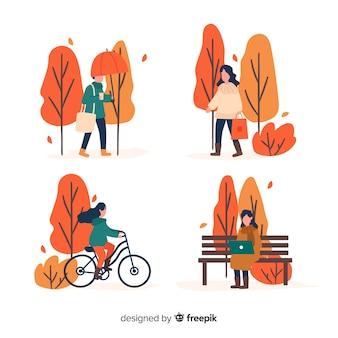 Gente en el parque otoño caminando