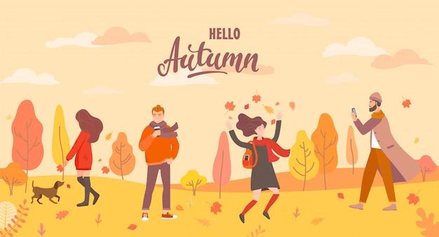 La gente en el parque de otoño en diferentes situaciones.