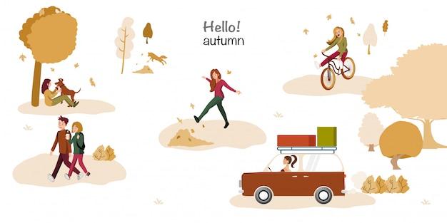 Gente en el parque otoño divirtiéndose. establecer gente casual en el bosque en la temporada de otoño
