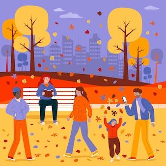 Gente en el parque en otoño