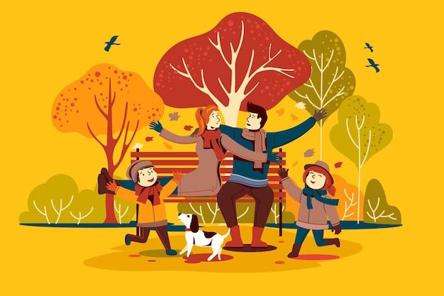 Gente en el parque de otoño