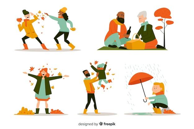 Gente en el parque otoño