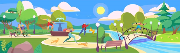 Gente en el parque de verano jugando con perros y practicar deportes, ilustración