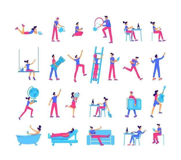 La gente pasa el tiempo libre con un juego de caracteres sin rostro de color plano. aprendizaje y crecimiento, pasatiempos, tiempo libre, ilustración de dibujos animados aislados para diseño gráfico web y colección de animación