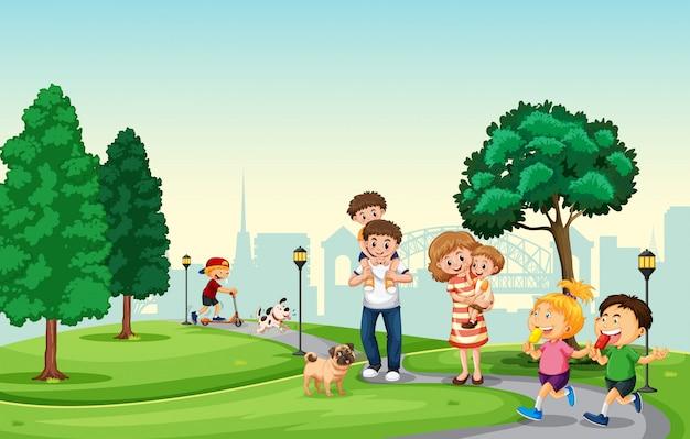 La gente pasa vacaciones en el parque.
