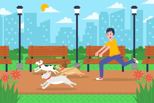 Gente paseando al perro ilustración diseño