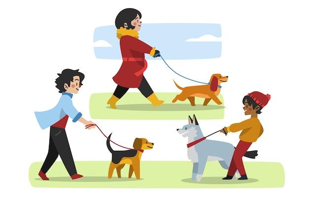 Gente paseando al perro