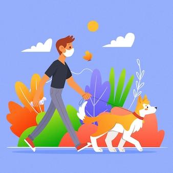Gente paseando el concepto de perro