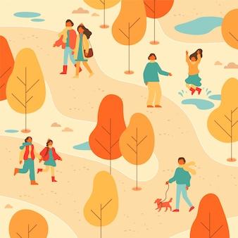 Gente paseando por el parque