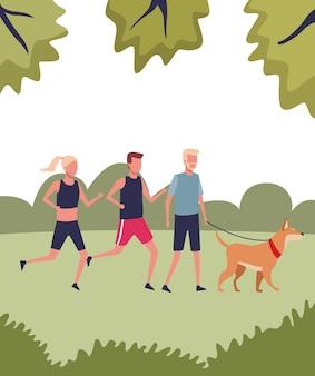Gente paseando perro y corriendo