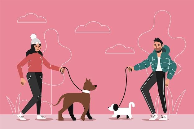 Gente paseando a su perro afuera
