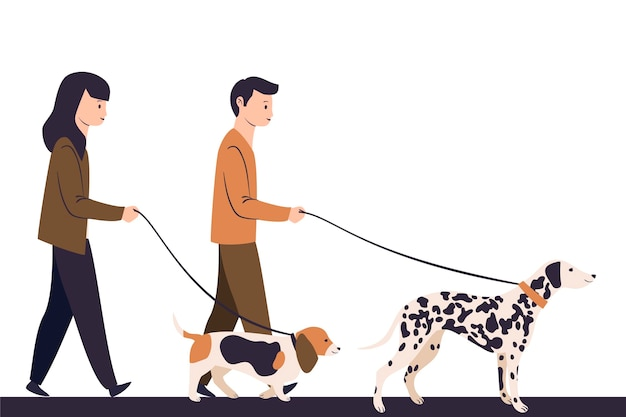 Gente paseando a su perro ilustrado