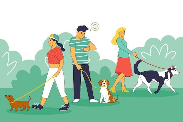 Gente paseando a su perro