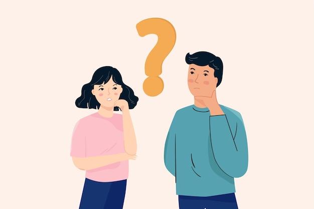 Gente pensando, preguntando por algo
