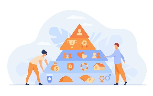 Gente pequeña cerca de la ilustración de vector plano de la pirámide de maslow. pirámide triangular de dibujos animados con niveles de jerarquía gráfica. teoría de la sociología y concepto de medición del bienestar.