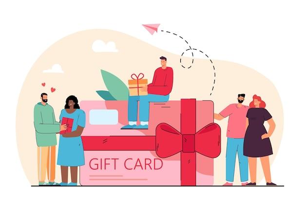Gente pequeña cerca de un vale de tarjeta de regalo gigante de la ilustración plana de la tienda