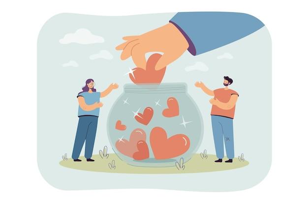 Gente pequeña generosa que recoge corazones en la ilustración plana aislada del tarro