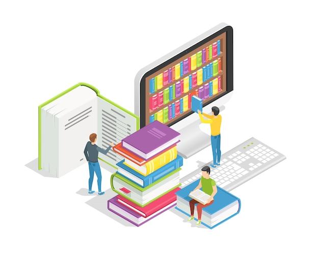 Gente pequeña con libros enormes. formación a distancia y tutoriales, concepto de biblioteca en línea.